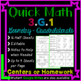 Geometry Homework or Geometry Math Centers for 3rd Grade - 3.G.1 (Distance Learn