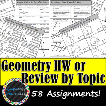 Geometry Homework Assignments/Worksheets