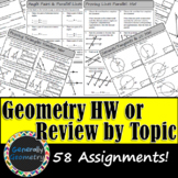 Geometry Homework Assignments/Review Worksheets