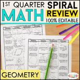 Geometry Homework or Geometry Warm Ups & Bell Ringers 100% EDITABLE