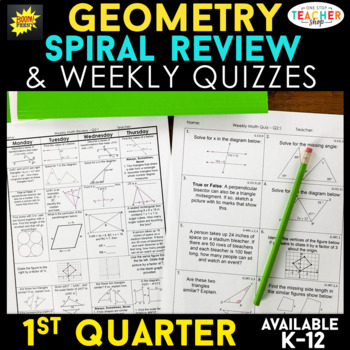 Geometry Review | Homework or Warm Ups | 1st Quarter