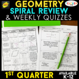 Geometry Review & Weekly Quizzes | Geometry Homework or Warm Ups | 1st QUARTER