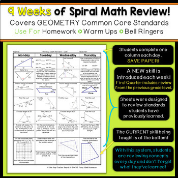 Geometry Review | Homework or Warm Ups | 2nd Quarter