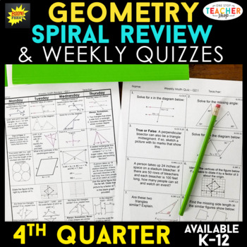 Geometry Review   Homework or Warm Ups   4th Quarter