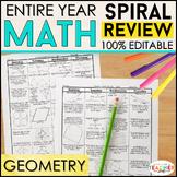 Geometry Spiral Review   High School Geometry Homework or Warm Ups