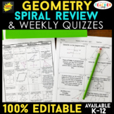 Geometry Spiral Review & Quizzes | Geometry Homework or Warm Ups | ENTIRE YEAR