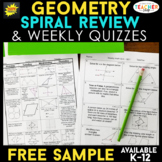 Geometry Spiral Review | Geometry Homework or Warm Ups FREE