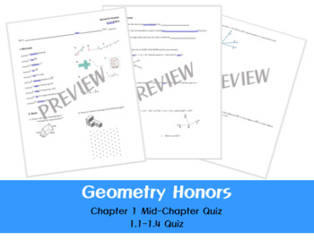 Geometry Honors - Chapter 1 Mid-Chapter Quiz (1.1-1.4)