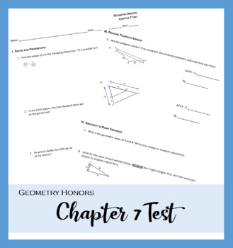 Geometry Honors - Chapter 7 Test