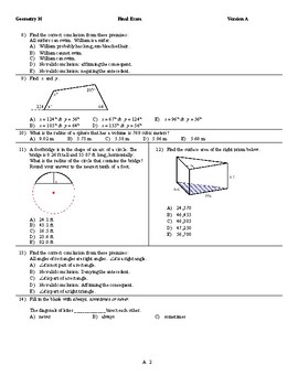 2017 Honors Geometry Final exam pdf