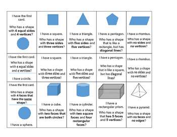 Geometry I Have Who Has - 2D & 3D