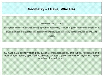 Geometry - I Have, Who Has  2.G.1