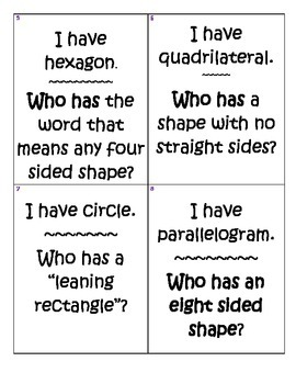 Geometry I Have Who Has Activity 3rd Grade