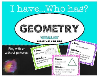Geometry I Have Who Has Game - 4.G.1, 4.G.2, 4.G.3, 4.MD.6, 4.MD.7