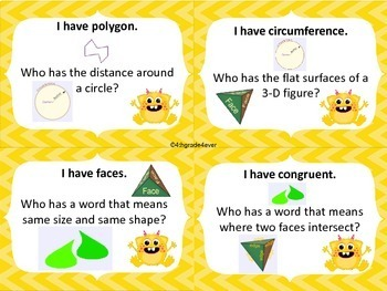 Geometry : I Have Who Has? Game 4th CCSS No Prep