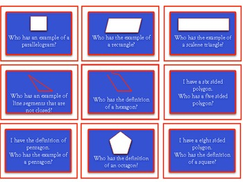 Geometry I have, Who has, Math Flashcards - Kagan strategy
