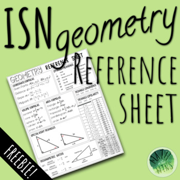 Geometry ISN Reference Sheet (FREE)