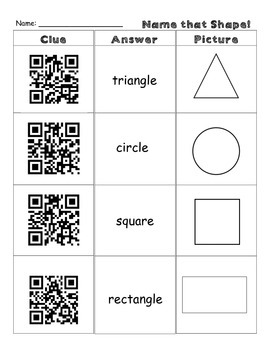 Geometry: Identify 2D Shapes Using QR Codes