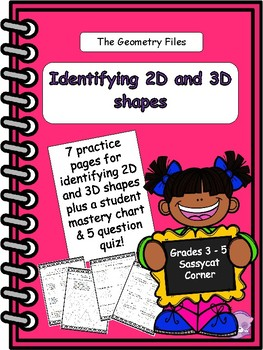Geometry - Identify 2D and 3D shapes worksheet and quiz packet