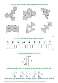 Geometry:  Identify and draw lines of symmetry
