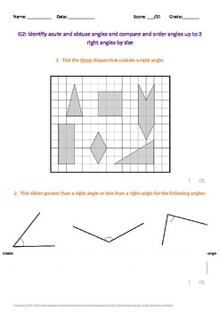 Geometry:  Identify, compare and order angles