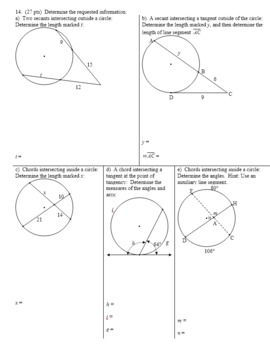 Geometry Individual Test Circles Spring 2014; two versions; 3 pages each