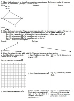Geometry Individual Test Proofs and Concurrency Fall 2013 (Editable)