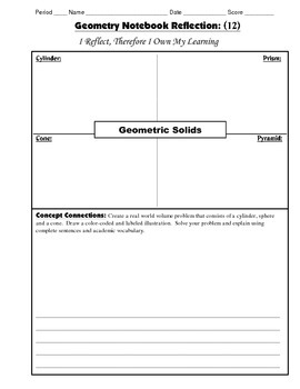 Geometry Interactive Math Notebook {Reflection} {12}: Geometric Solids