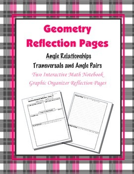 Geometry Interactive Math Notebook {Reflection} {4}: Angle Pair Relationships