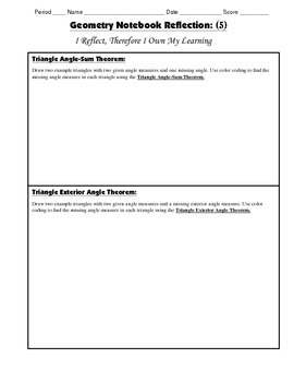 Geometry Interactive Math Notebook {Reflection} {5}: Triangle Angle-sum Theorem