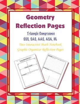 Geometry Interactive Math Notebook {Reflection} {6}: Triangle Congruence