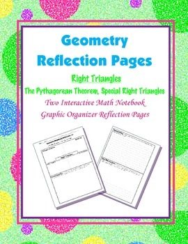 Geometry Interactive Math Notebook {Reflection} {8}: Right Triangles