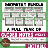 Geometry Interactive Notebook Activities and Scaffolded Notes Bundle