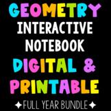 Geometry Interactive Notebook PRINT & DIGITAL Full Year Bundle