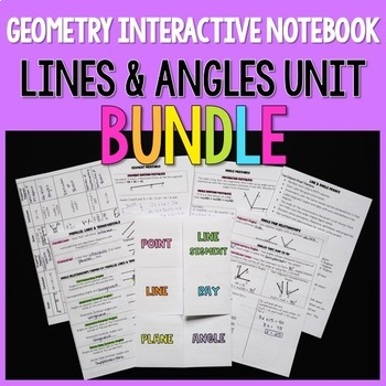 Geometry Interactive Notebook: Lines & Angles Unit BUNDLE