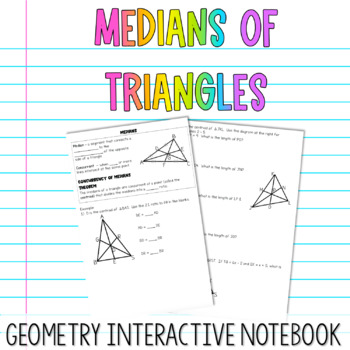 Geometry Interactive Notebook:  Medians of Triangles
