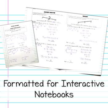 Geometry Interactive Notebook: Segment Addition Postulate