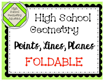 Geometry: Interactive Notebook Undefined Terms Foldable
