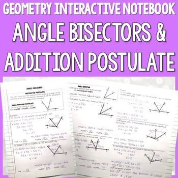 Geometry Interactive Notebooks: Angle Bisectors
