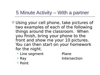 Geometry Introduction Unit - Terms, Distance, Midpoint, Angles