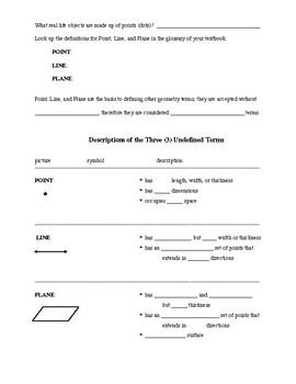 Unit 1 Basic Geometric Terms and Symbols notes