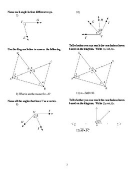 Geometry - Introduction to Angles worksheets