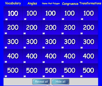 Geometry Jeopardy For Smart Board