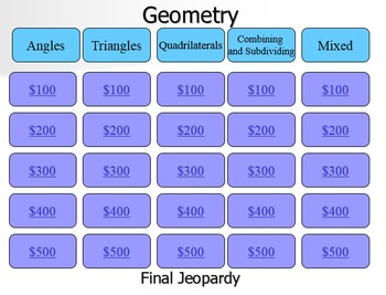 Geometry Jeopardy Review