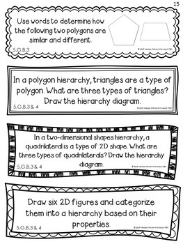 Geometry Math Journal Response Prompts - Common Core Aligned Grade 5