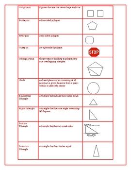 Geometry Journal Vocabulary Worksheet