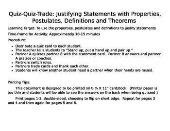 Geometry Justifying Statements Quiz-Quiz-Trade