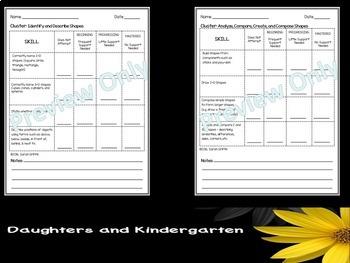 Kindergarten Math Rubric - Geometry