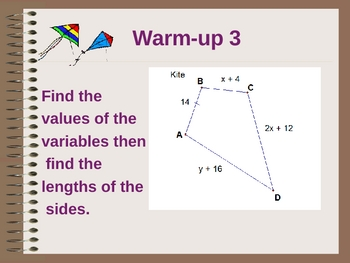 Geometry Kite and Parallelogram/warm-up Presentation