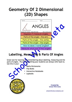 Geometry:  Labelling, Measuring & Parts Of Angles For Flip Books / Lapbooks